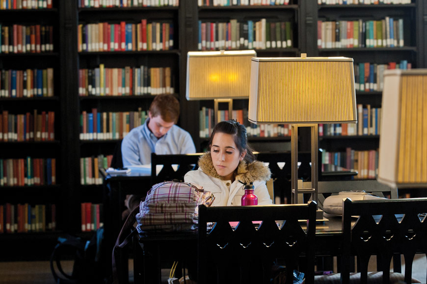students studying in reading room at McFarlin Library