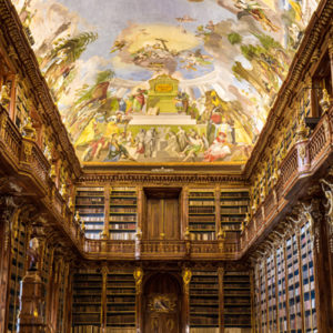 a two story personal library with a fresco painted on the ceiling