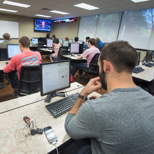 finance students at TU inside the classroom studying