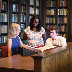 history students studying in the library