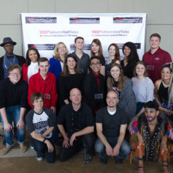 a group photo of TEDxUniversityofTulsa organizers and speakers at the 2017 event