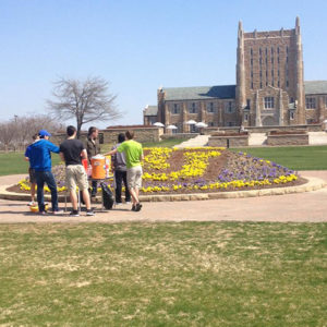 RHA members in the early stages of setting up for an event on Dietler Commons.