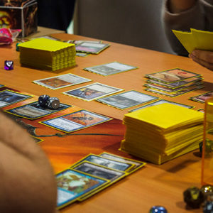 An up close view of Magic: The Gathering being played.