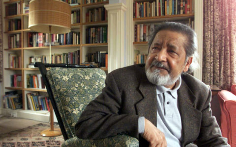 British author V.S. Naipaul at his home near Salisbury, Wiltshire, October 11, 2001