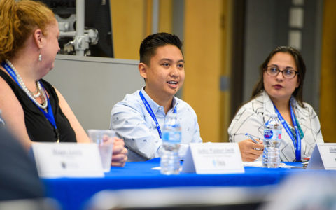 Students discuss at a diversity and inclusion panel