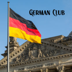 German Club with German flag and a government building