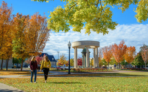 students walking across campus with fall leaves