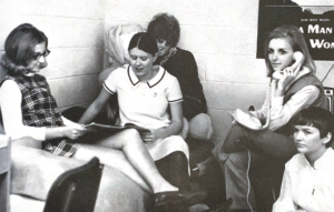 Kappa Delta members hang out in a dorm room in 1970.