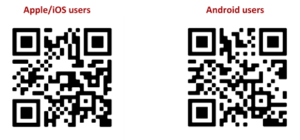 QR Codes to download the TEAMS app on the apple and google store