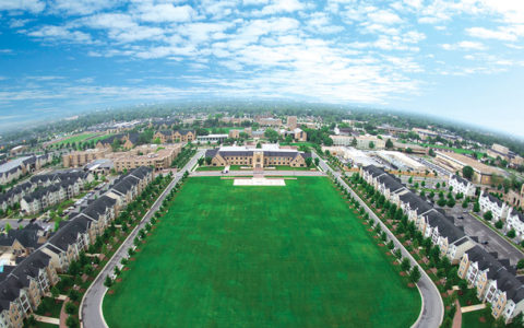 Aerial photo of Chapman Commons looking over the TU campus