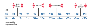 Graphic illustrating various sounds and their decibel readings