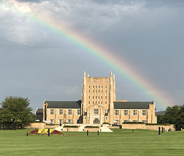 Rainbow over McFarlin Library