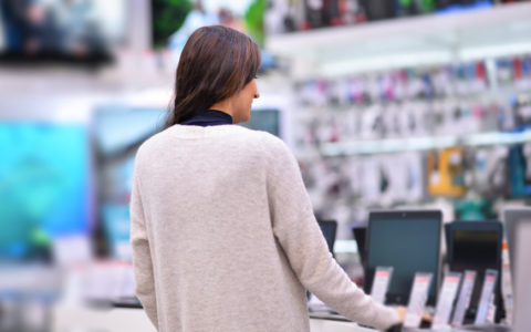 woman in computer store