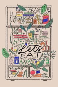 Colorfully illustrated postcard bearing the words Let's Eat