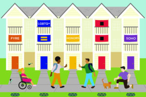 an illustration of five university residences with four cartoon people in front