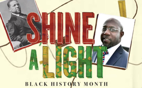 Illustration with words Shine a Light and Black History Month plus photos of two Black men