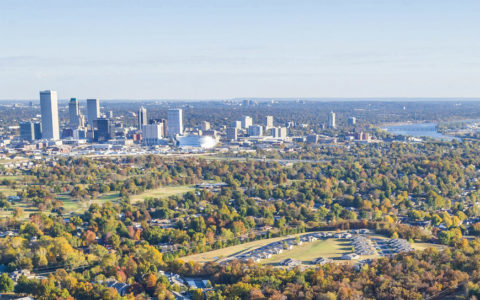 daytime aerial view of northwest Tulsa and the downtown sector