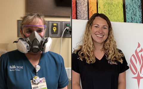 woman on left wearing hospital scrubs and respirator and woman on right wearing a black t-shirt