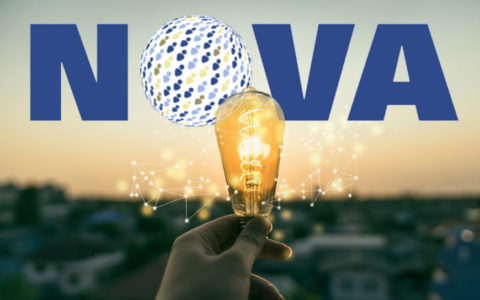 The word NOVA in capital letters and an old-fashioned light bulb held aloft by a hand