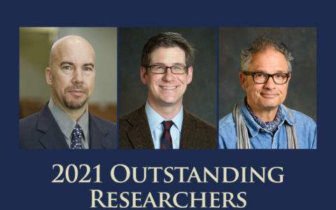 Composite image of three men above the words 2021 Outstanding Researchers