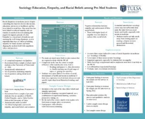 a scientific poster for a presentation entitled Sociology Education, Empathy, and Racial Beliefs among Pre-Med Students