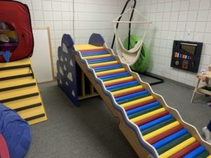 a small, colorful slide for children