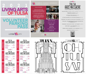 a group of six designs for printed materials for Living Arts of Tulsa